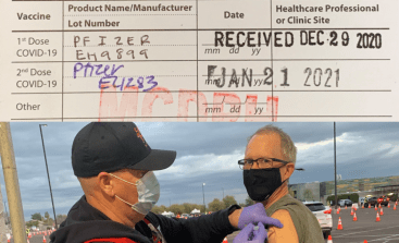 "Thursday, January 21, 2021 – ""Second dose!"" says David Covington, LPC, MBA, CEO and president at RI International. Dignity Health drive-through Covid vaccine center at Chandler-Gilbert Community College. Chandler, Arizona."