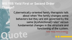 Will 988 Yield First or Second Order Change?