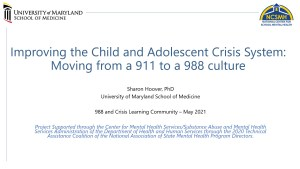 Improving the Child and Adolescent Crisis System: Moving from a 911 to a 988 culture