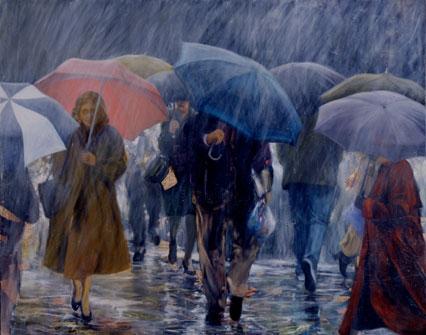 walking in the rain..