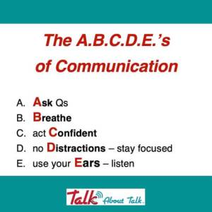 The ABCDEs of Communication use for networking