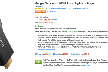 Google Chromecast Only $22.99 with Amazon Prime plus 2 Month of Hulu Plus FREE