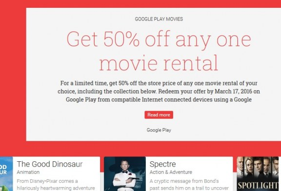 Deal Alert: Google Offers 50% Off Any One Movie Rental Till March 17th