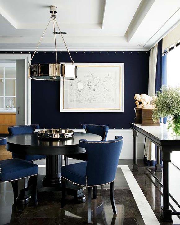 Dining Rooms Navy Blue  Simple Home Decoration