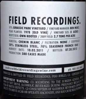 Field Recordings Chenin Blanc back label