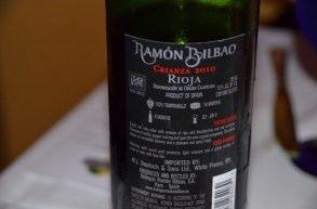 Ramon Bilbao Rioja Back Label - look at perfect presentation of all the info