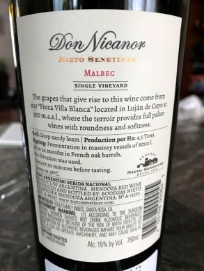 Nieto Senetimer Don Nicanor Malbec back label