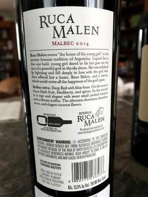 Ruca Malen Malbec back label