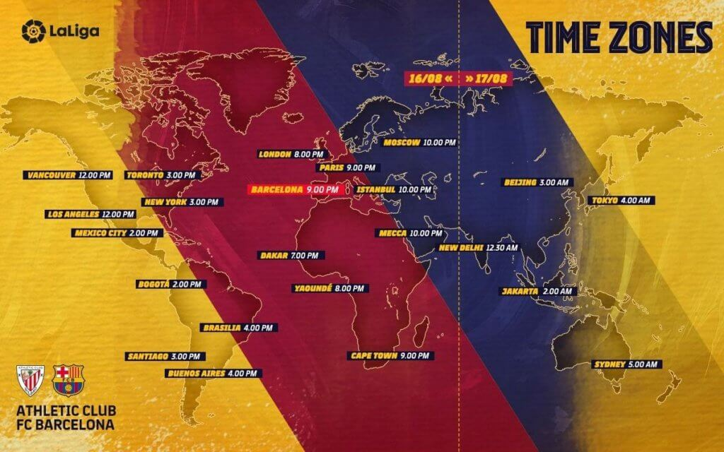 Athletic Club v Barça Kick-Off Timings Across The World
