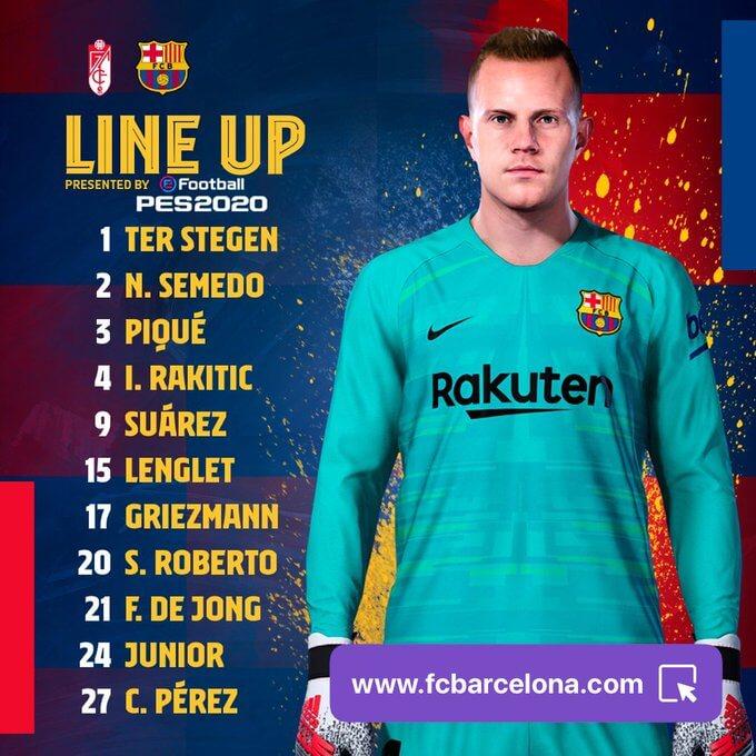 Granada vs FC Barcelona Starting Lineup - LaLiga 2019-20