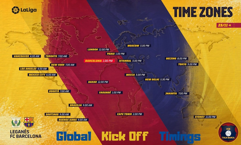Leganés vs Barcelona Kick Off Time - La Liga 19-20