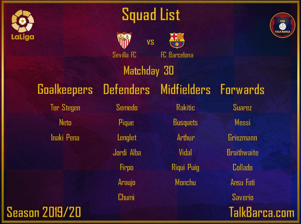 Sevilla vs FC Barcelona - Squad List - La Liga 2019-20