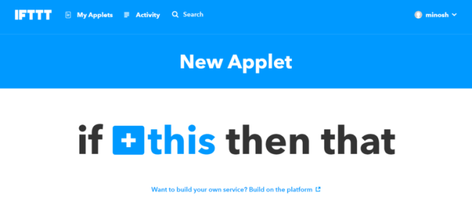 Create New Applet of IFTTT