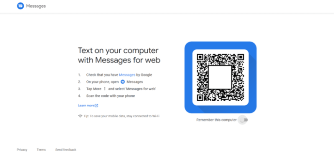 Set up Android Messages on PC