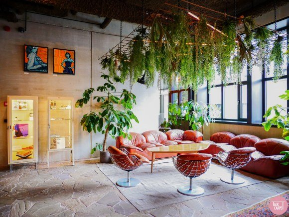 co-working co-living interiors, Hotel, hostel, co-working and co-living combined at Yust Antwerp