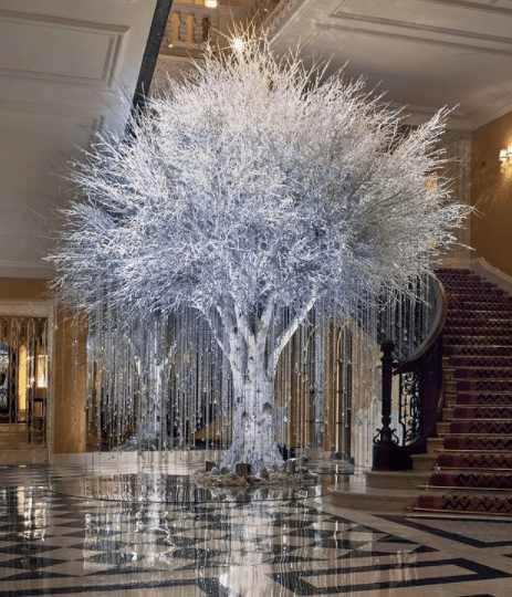 chevron carpet, Snowy chevron carpet reflecting Claridge Hotel's 2020 Christmas Tree