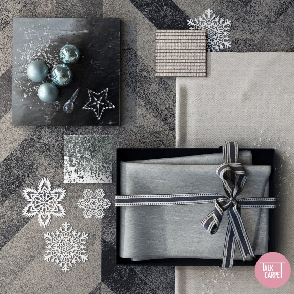 chevron carpet, Snowy chevron carpet reflecting Claridge Hotel's 2020 Christmas Tree