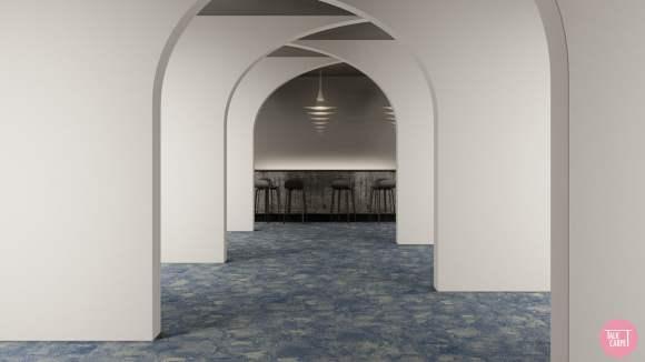blue and cream striped carpet, Blue and cream striped carpet as canvas for our Zebra shells palette