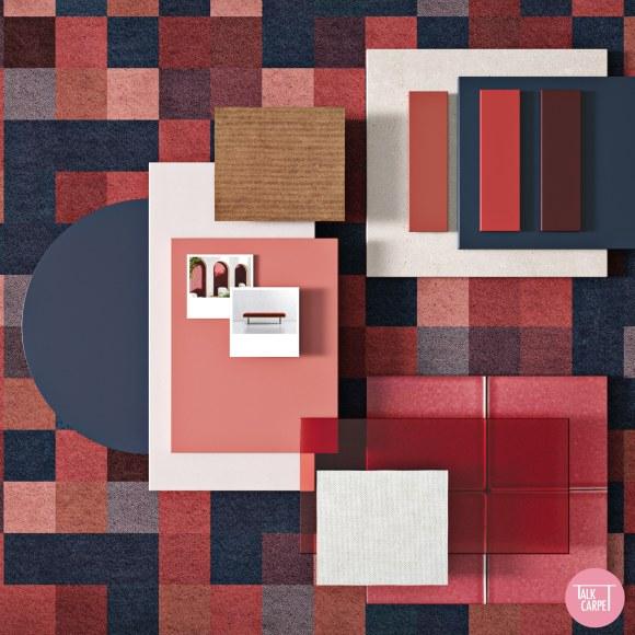 pixelated carpet, Pixelated carpet recreates La Muralla Roja by architect Ricardo Bofill