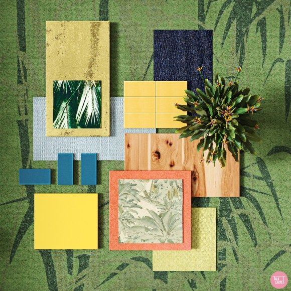 biophilic carpet, Biophilic carpet and a materials palette with cues from the Strelitzia flower