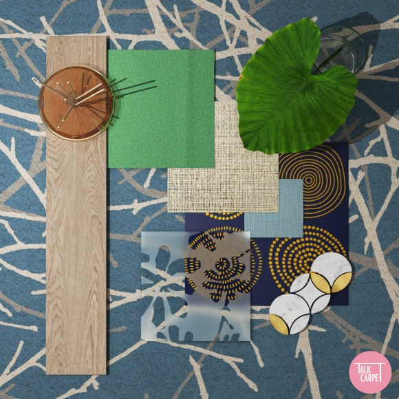 interior material palette, Interior material palette displaying soft blues and biophilia elements
