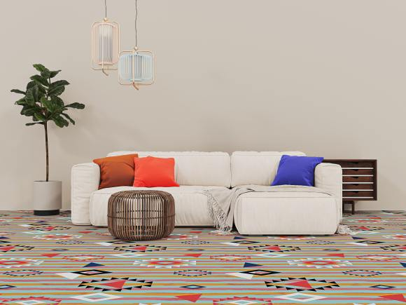 Boho Carpet, Boho carpet based on a watercolor stripe and with worldly vibe