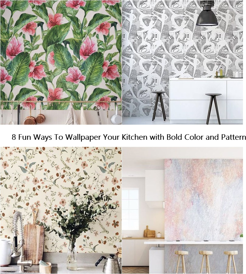 8 Fun Ways To Wallpaper Your Kitchen with Bold Color and Pattern