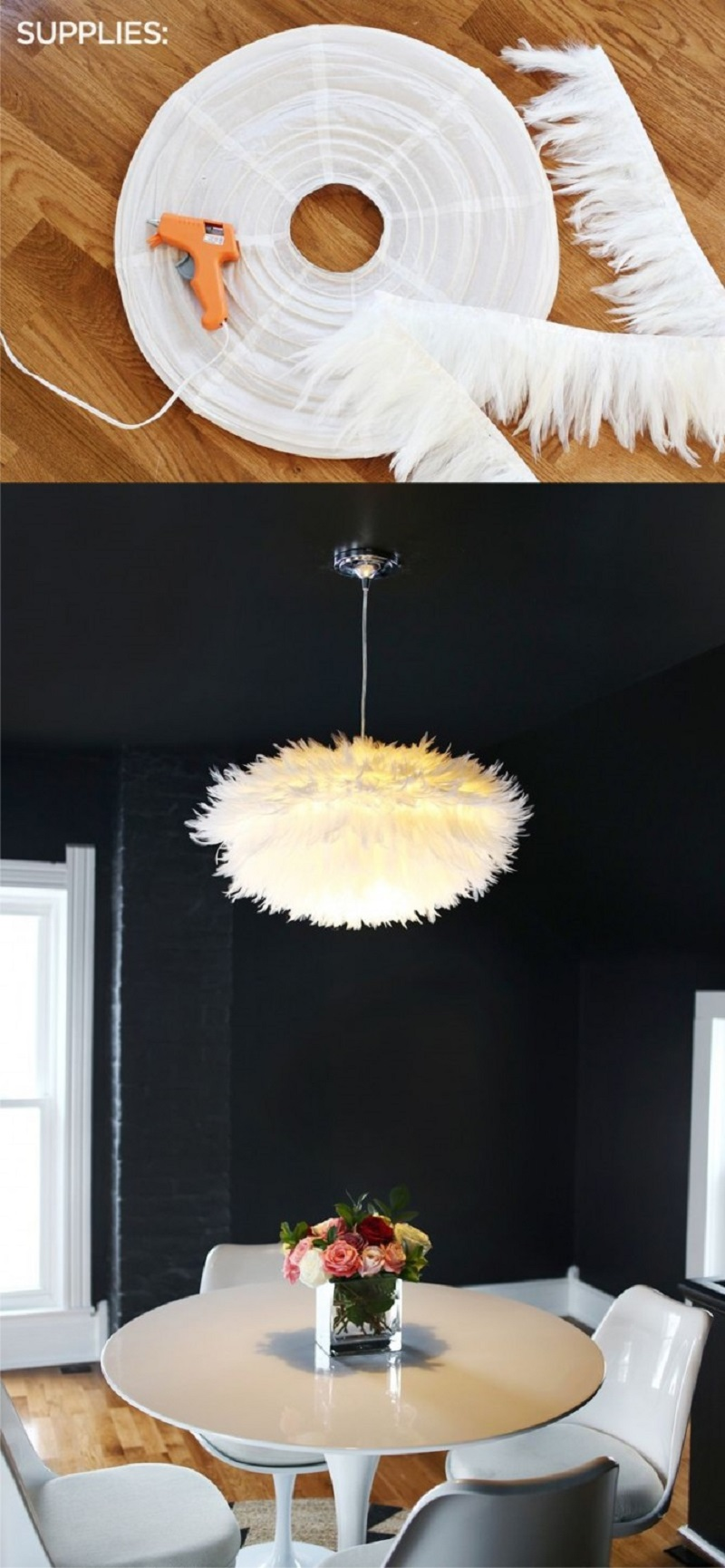 Chic White Feather Lamp
