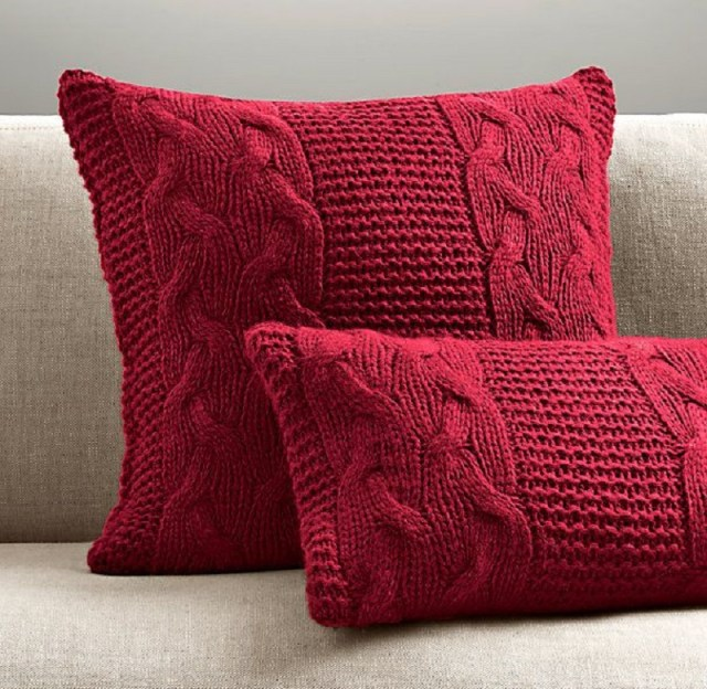 Chunky Knit Fringe Pillow