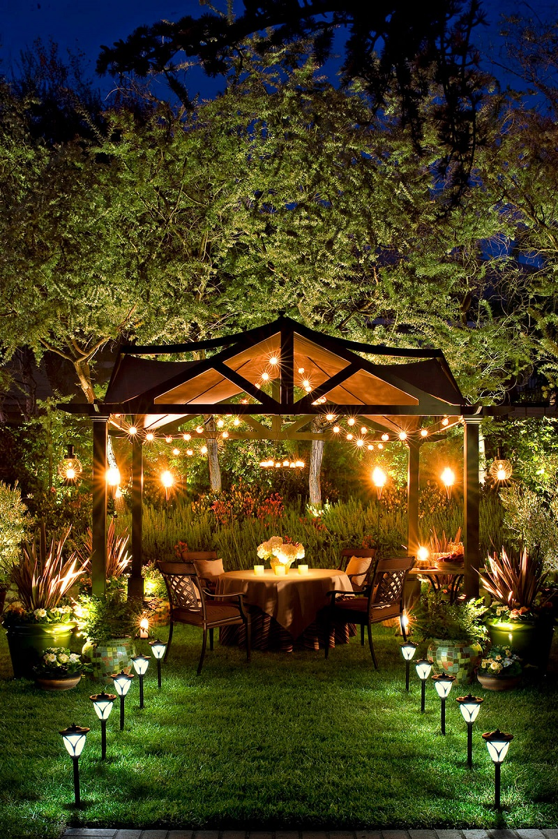 Elegant Well Lit Backyard Dinner