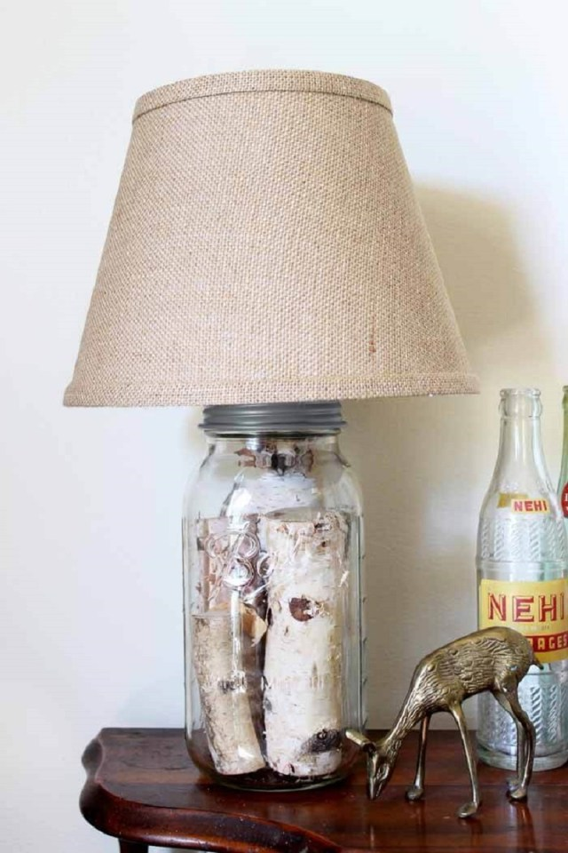 Mason Jar Log Lamp