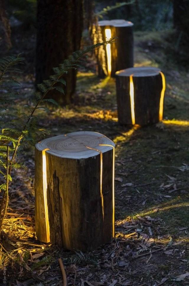 Natural Illuminated Log Pathway Lights
