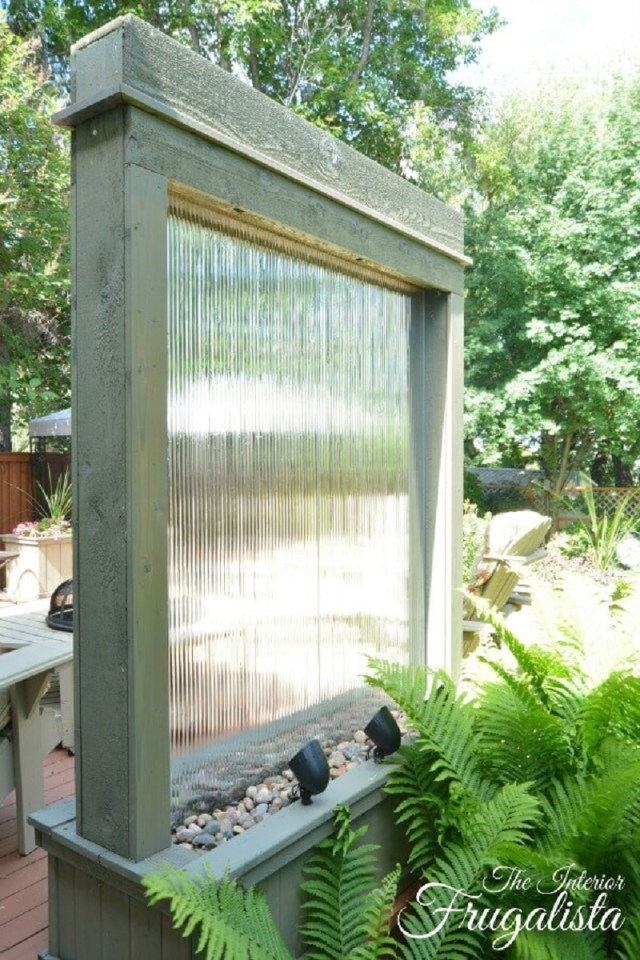 Rustic Window Pane Falling Water Feature