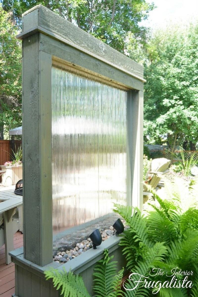 Rustic Window Pane Falling Water Feature