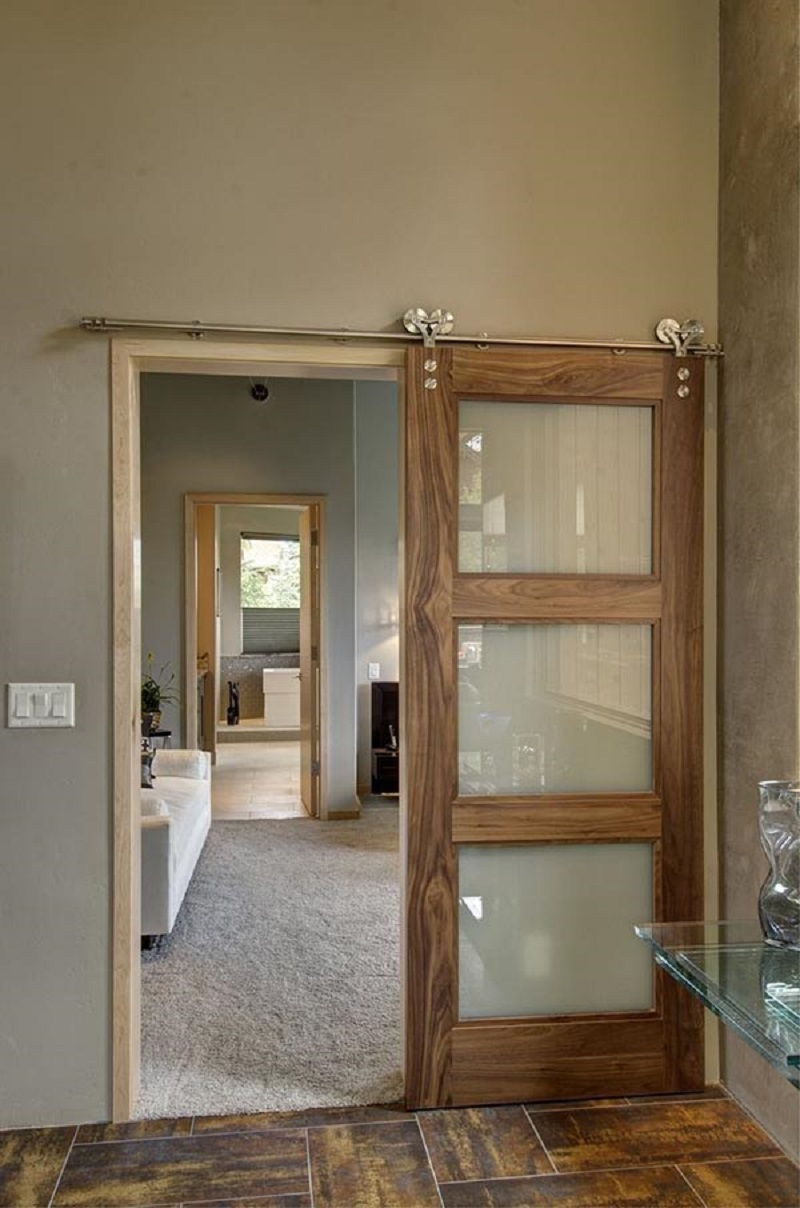 Smokey Glass Barn Door