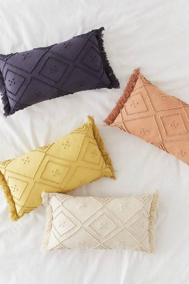 Textured Fringe Bolster Pillow