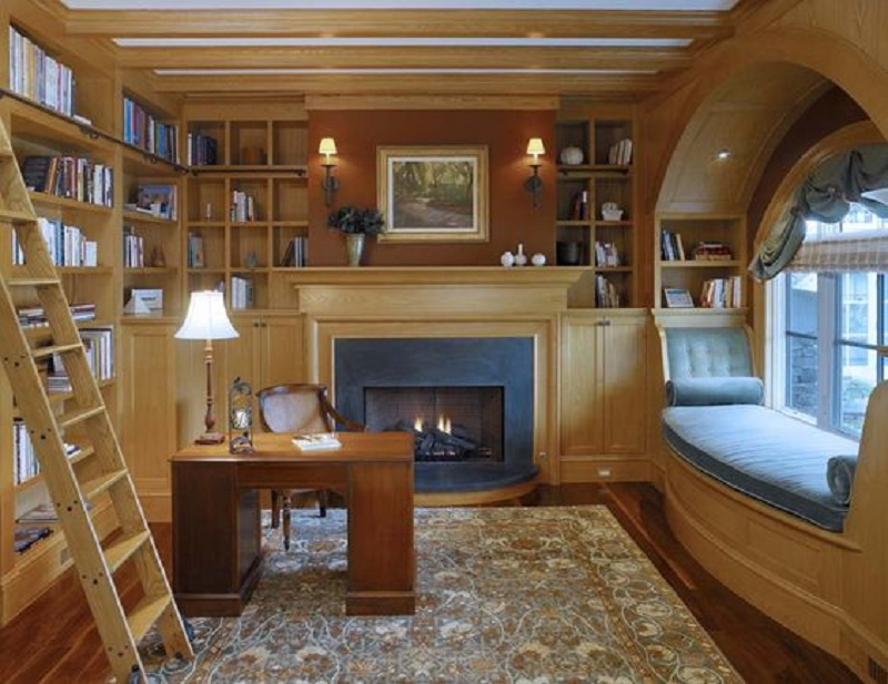 Reading Nook By The Fireplace