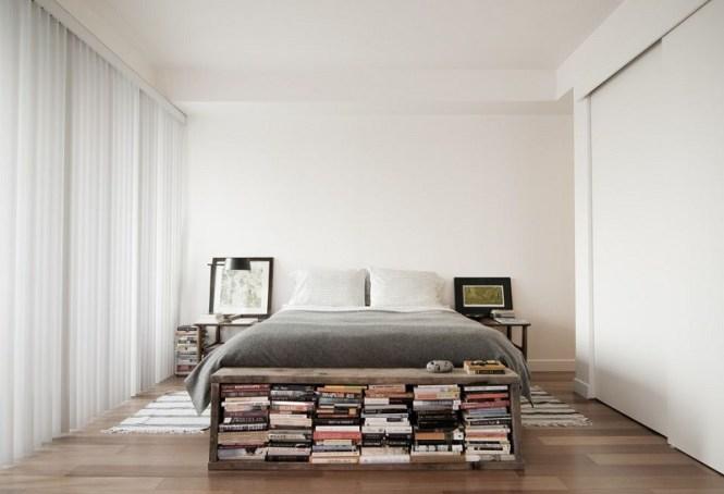 Bedroom With Reclaimed Wood Bookshelf