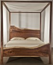 Canopy Bed Made With Headboard And Footboard From Live Edge Wood