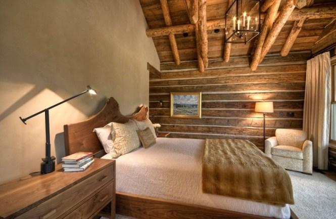 Mountain Cabin Bedroom Decor With A Live Edge Headboard