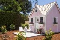 Soft Pink Tiny House Exterior