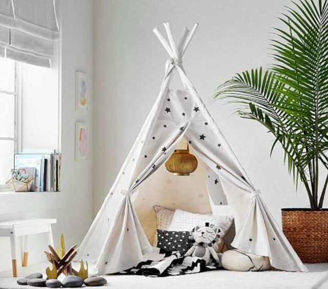 White With Black Stars Tent