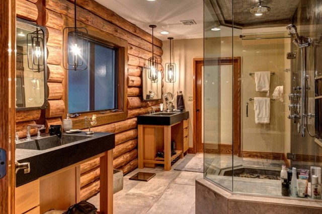 Wood Logs Bathroom Rustic Style