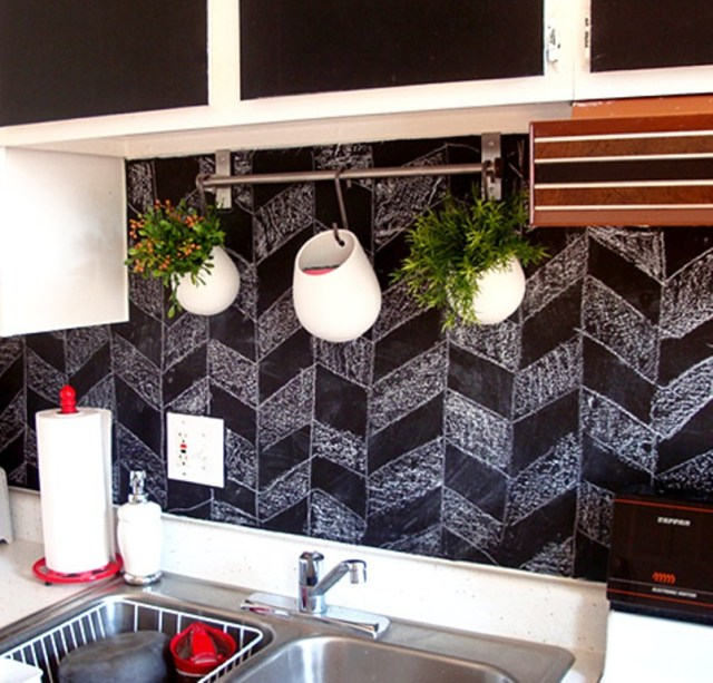 Kitchen Blackboard Backsplash