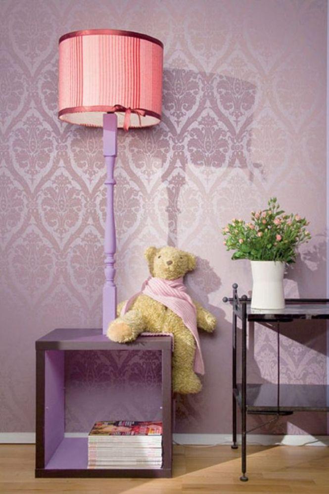 Pink Painted Floor Lamp Rectangular Base