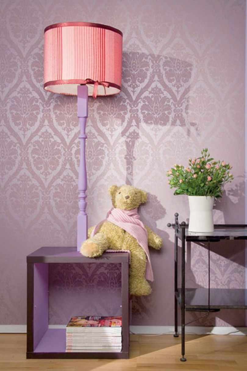 Pink Painted Floor Lamp Rectangular Base