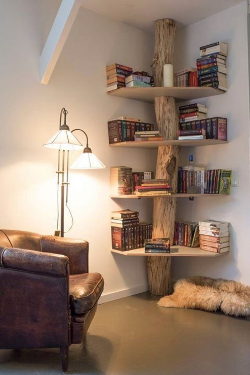 Tree Trunk Corner Shelves