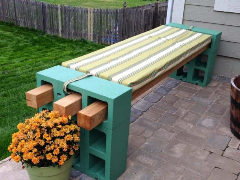 Bench From Concrete Blocks