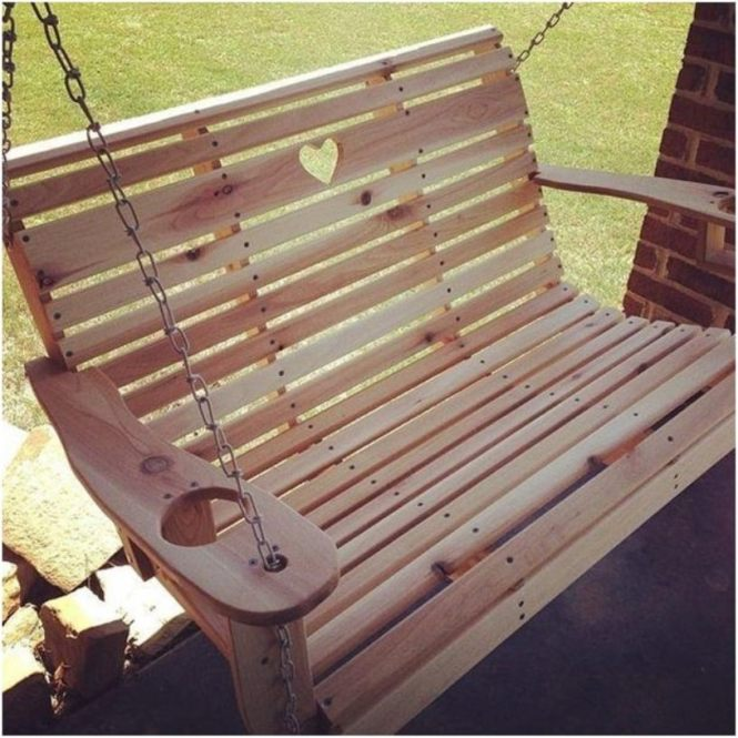 Carved Heart Porch Swing