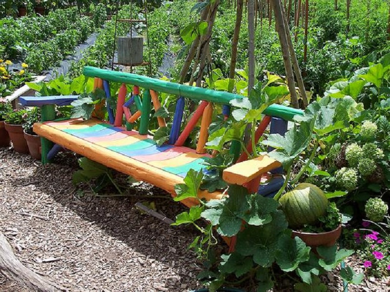 Colorful Bench In A Rustic Farm Design